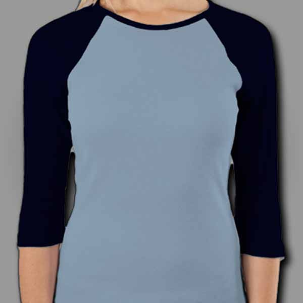 Baby Blue/Blue Ladies Raglan