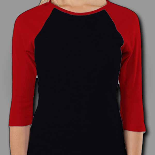 Black/Red Ladies Raglan